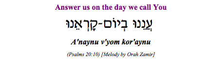 """Anaynu v'yom kor-aynu - Answer us on the day we call You"" (Psalm 20:10)"